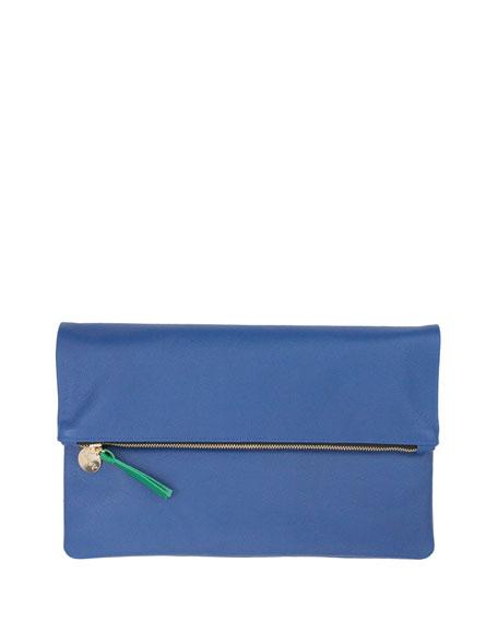Clare V. Supreme Fold-Over Clutch Bag, Cobalt Saffiano
