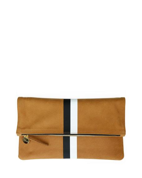 Clare V. Core Supreme Fold-Over Clutch Bag, Camel/Black/White