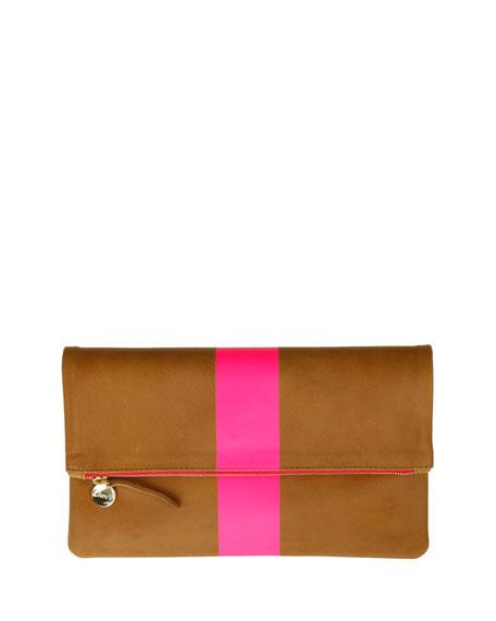 Clare V. Core Supreme Fold-Over Clutch Bag, Camel/Pink