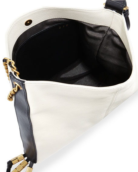 Image 2 of 3: Bayard Two-Tone Leather Shoulder Bag, Delivery/Noir
