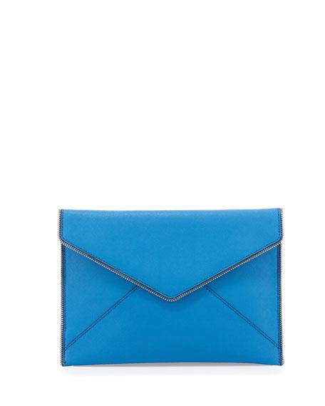 Rebecca Minkoff Leo Saffiano Envelope Clutch Bag, Denim Blue