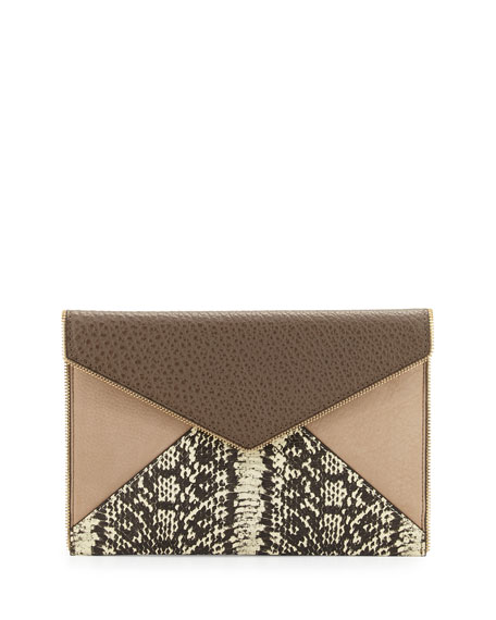 Rebecca Minkoff Leo Mixed-Media Envelope Clutch Bag, Taupe