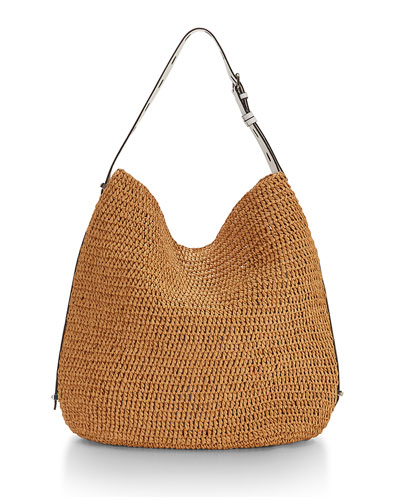 Sardinia Straw Leather-Trim Hobo Bag, Natural/White