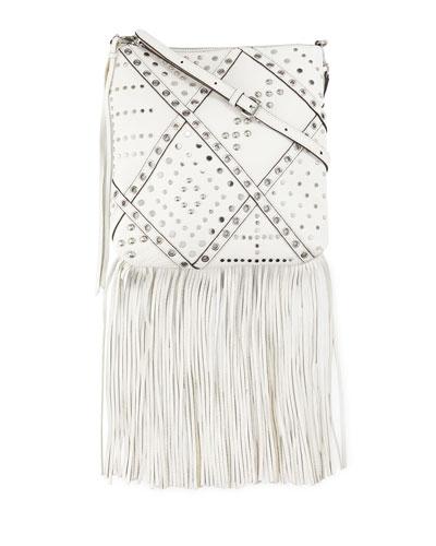 Jemma Studded Fringe Crossbody Bag, White