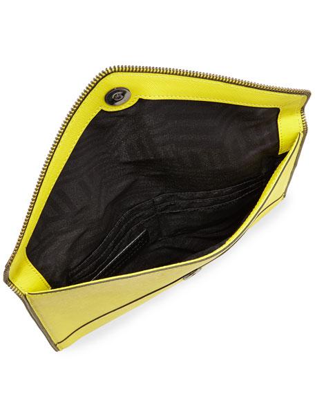 Leo Saffiano Zip-Trim Clutch Bag, Limeade