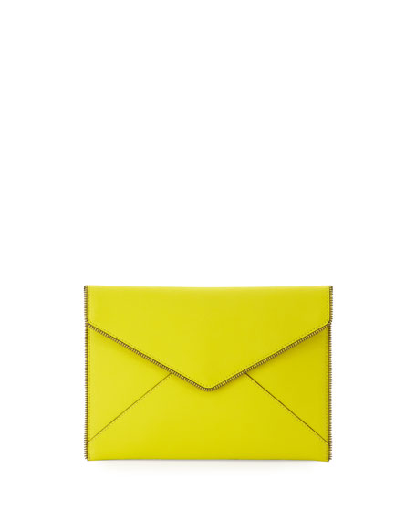Rebecca MinkoffLeo Saffiano Zip-Trim Clutch Bag, Limeade