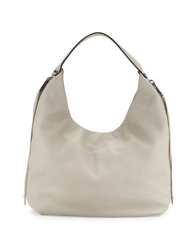 Bryn Leather Hobo Bag, Putty