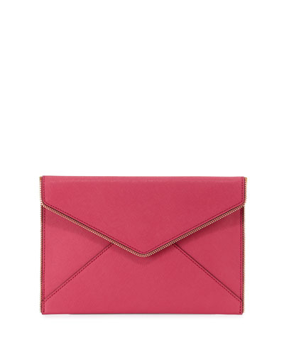 Leo Saffiano Zip-Trim Clutch Bag, Bright Fuchsia
