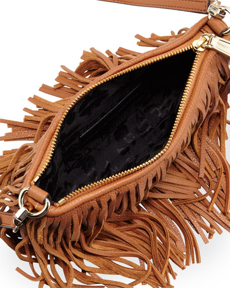 Finn Leather Fringe Crossbody Bag, Almond