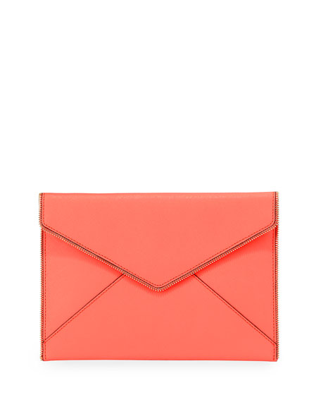 Leo Saffiano Zip-Trim Clutch Bag, Bright Coral