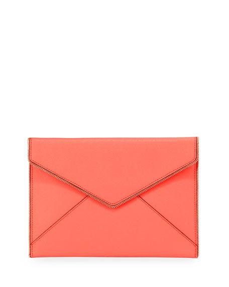 Leo Saffiano Zip-Trim Clutch Bag, Bright Coral