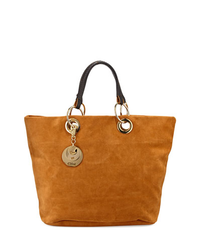 Summer Suede Tote Bag, Warm Sand