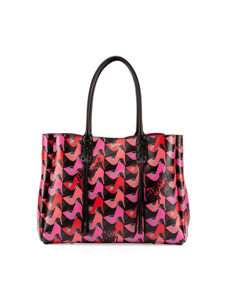 Lanvin Shoe-Print Leather Shopper Tote Bag, Pink