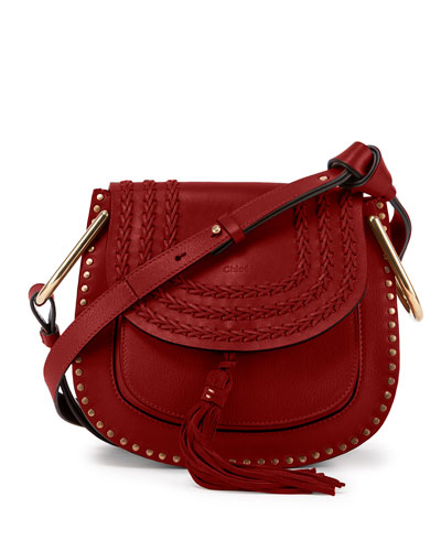 Hudson Mini Suede/Calfskin Shoulder Bag, Red