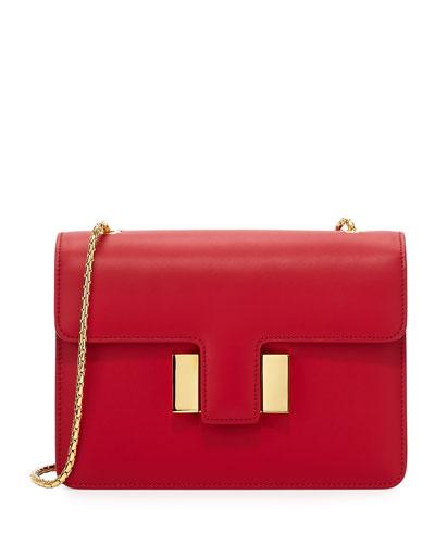Sienna Medium T-Buckle Leather Shoulder Bag, Red