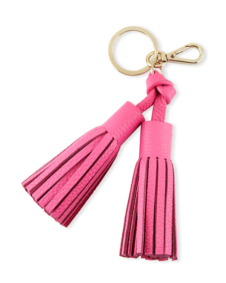 double leather tassel key fob, tulip pink