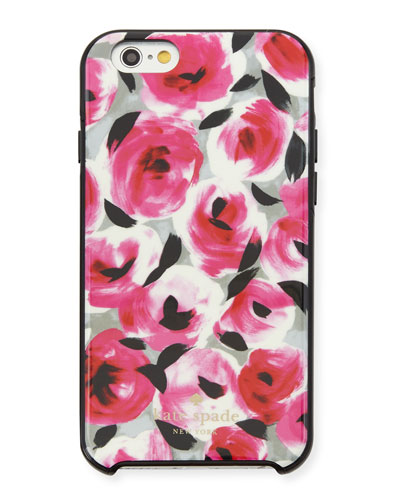 rosebud iPhone 6/6s case, black/pink