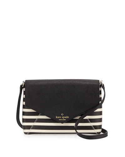 fairmount square monday large striped crossbody bag, black/sandy beach