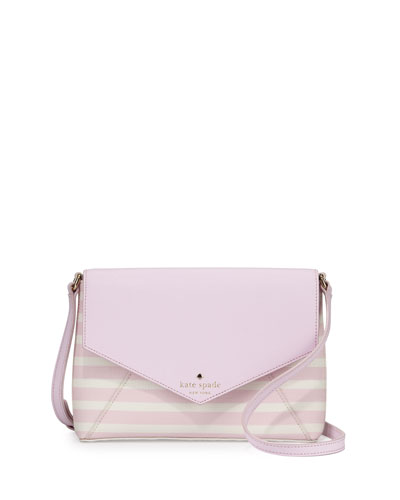 fairmount square monday large striped crossbody bag, pink blush/sandy beach