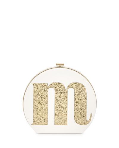 evening bells initial clutch bag, m, cream/gold