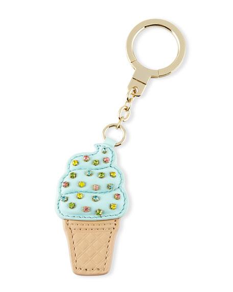 ice-cream cone key fob, blue/multi