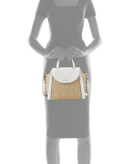 cobble hill straw small adrien satchel bag, natural/cement