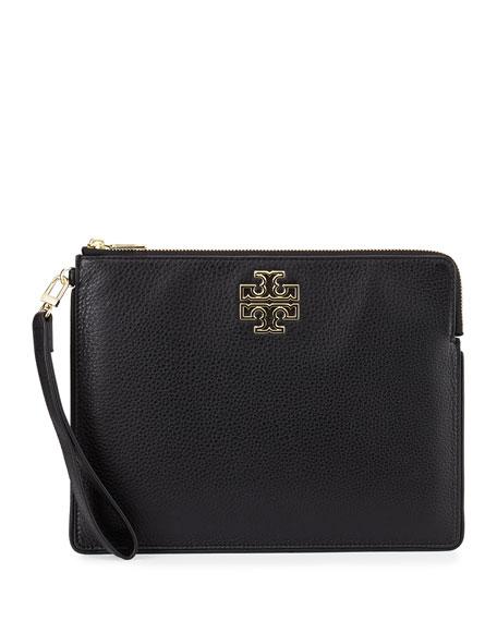 Tory Burch Britten Large Zip Pouch Bag, Black