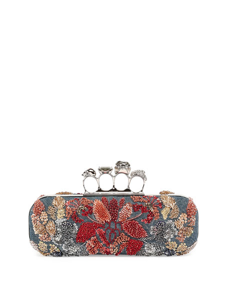 Alexander McQueen Knuckle Duster Denim Box Clutch Bag w/Floral Embroidery