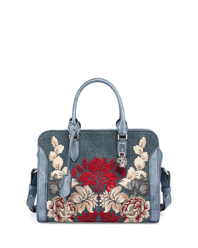 Padlock Small Denim Satchel Bag w/Floral Embroidery