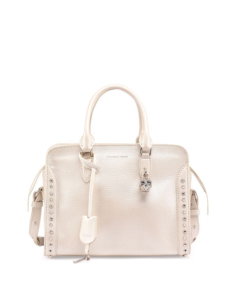 Alexander McQueen Small Padlock Studded Satchel Bag, Pearl