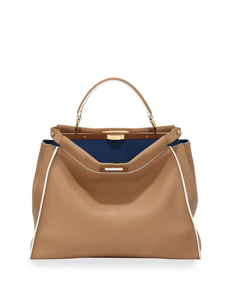 Fendi Peekaboo Large Satchel Bag, Beige Multi