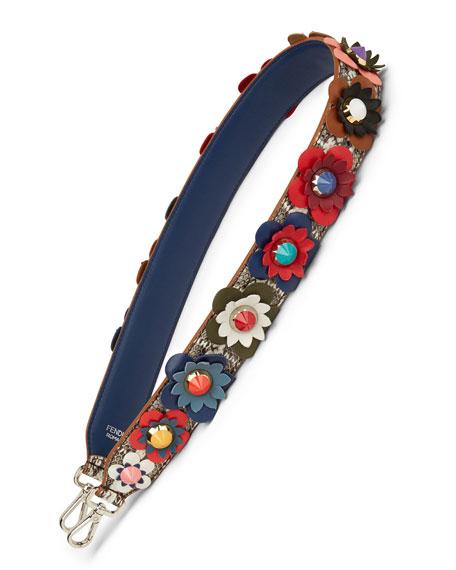 Fendi Snakeskin Handbag Strap w/Studded Flowers