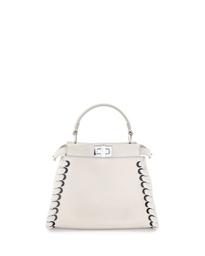 Mini Peekaboo Whipstitched Satchel Bag, White