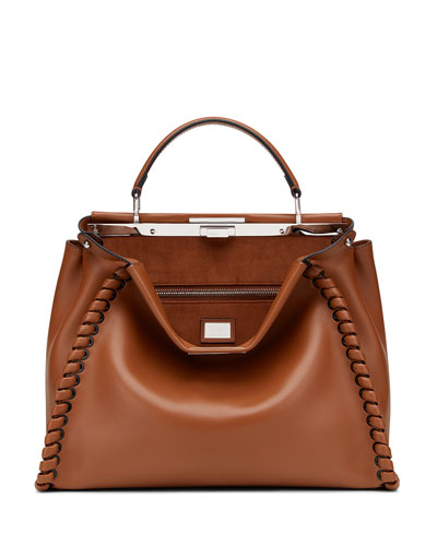 Peekaboo Medium Stitch Threading Satchel, Cognac