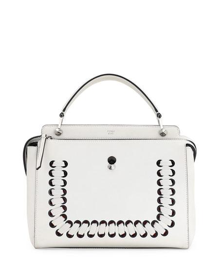 78bdcb10c0bd Fendi DOTCOM Medium Whipstitched Leather Satchel Bag