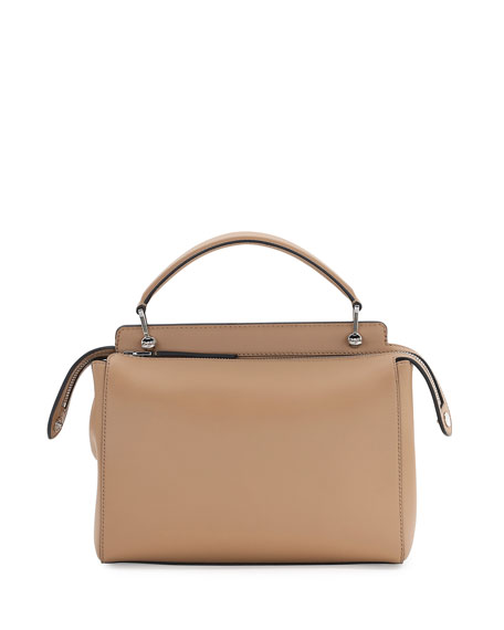 .COM Medium Floral Leather Satchel Bag, Nude