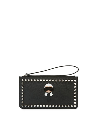 Karlito Flat Stud-Trim Pouch Bag, Black Multi