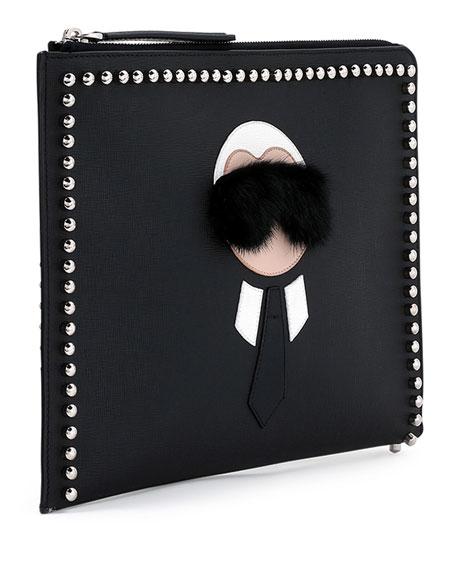 Karlito Large Zip-Around Pouch Bag, Black Multi