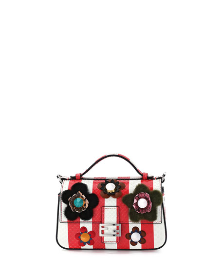 Fendi Double-Compartment Striped Micro Snakeskin Shoulder Bag,