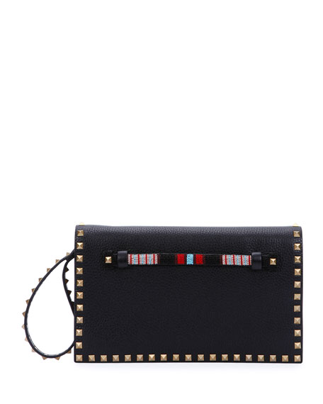 Valentino Rockstud Medium Beaded Flap Clutch Bag, Black