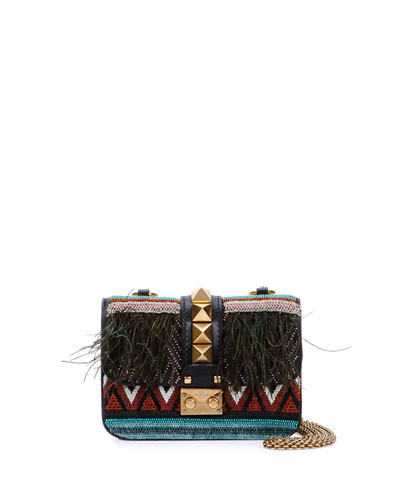 Mini African Couture Lock Shoulder Bag, Black
