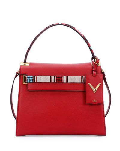My Rockstud Medium Beaded Satchel Bag, Red