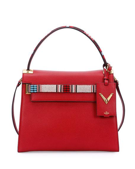 Valentino My Rockstud Medium Beaded Satchel Bag, Red