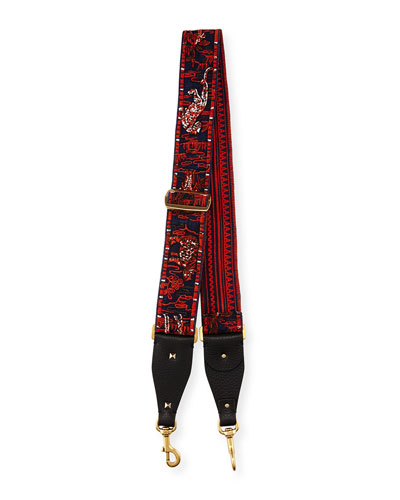 Animal-Embroidered Guitar Strap for Handbag, Red/Multi