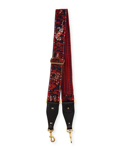 Animal-Embroidered Guitar Strap for Handbag, Red/Multi