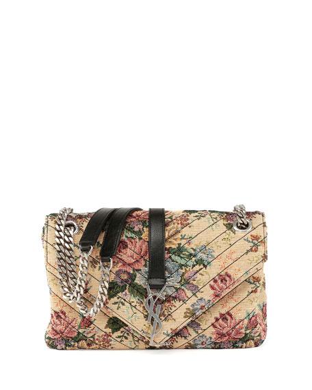 Saint Laurent Monogram Floral Jacquard Shoulder Bag, Beige/Multi