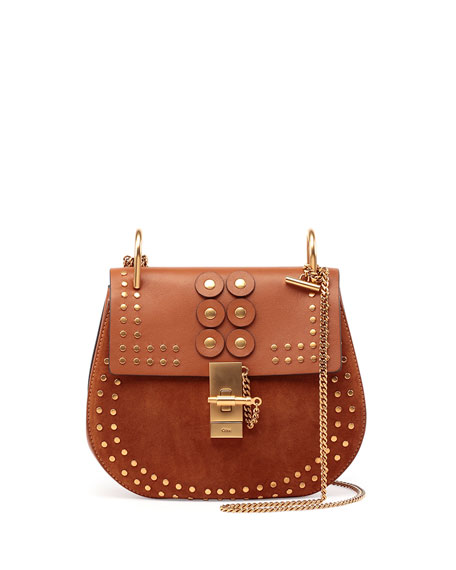 Chloe Drew Studded Suede \u0026amp; Leather Shoulder Bag, Caramel