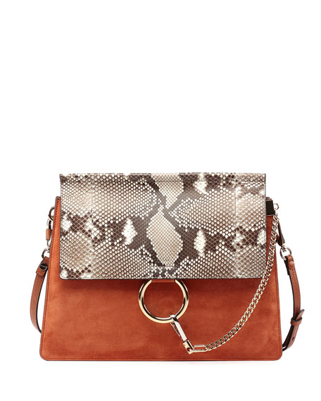 Faye Python-Pattern Leather & Suede Shoulder Bag
