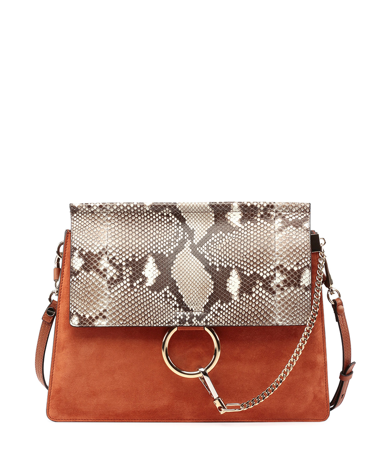 e0f9e5baf5d Chloe Faye Python-Pattern Leather & Suede Shoulder Bag | Neiman Marcus