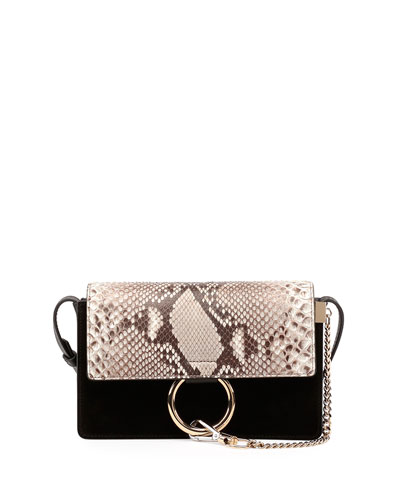 Faye Small Python-Pattern Leather & Suede Shoulder Bag, Black